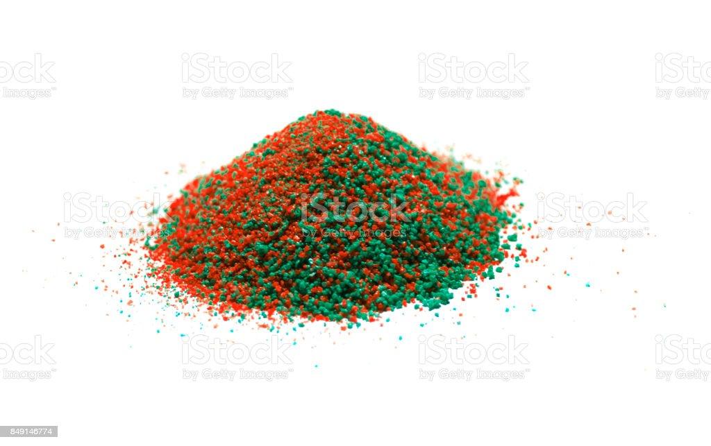 Quartz sand pile isolated white background stock photo