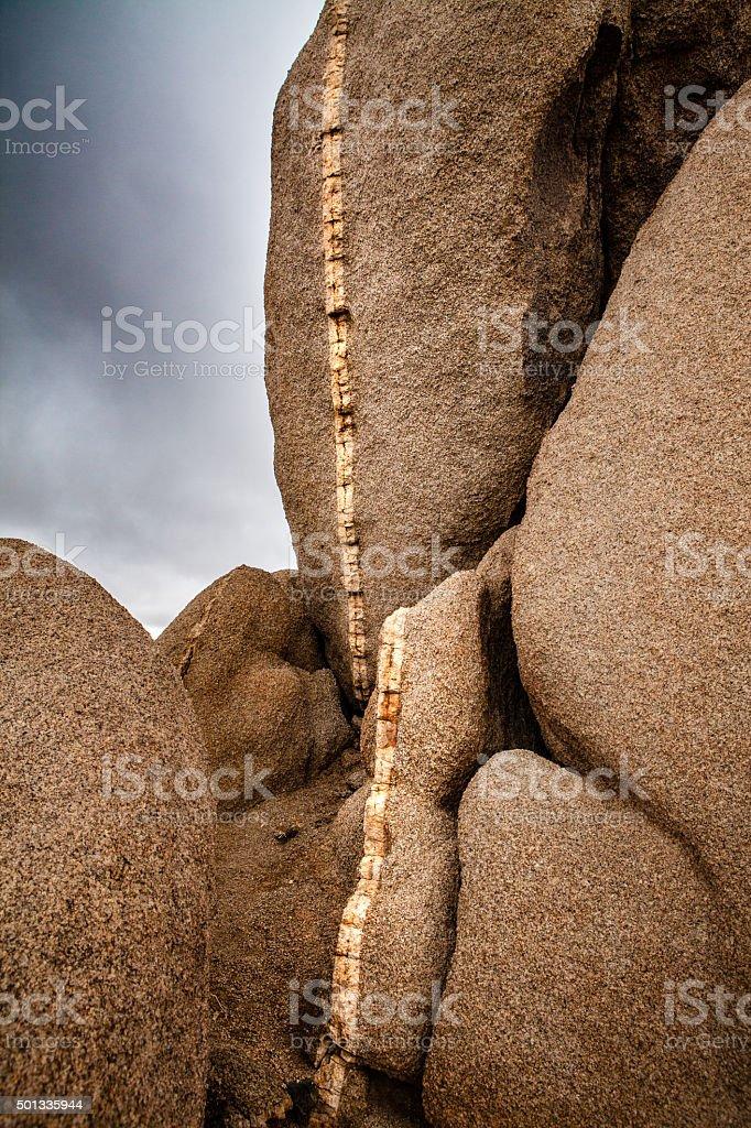 Quartz Vein In Monzogranite Rock Formation, Joshua Tree National Park royalty-free stock photo