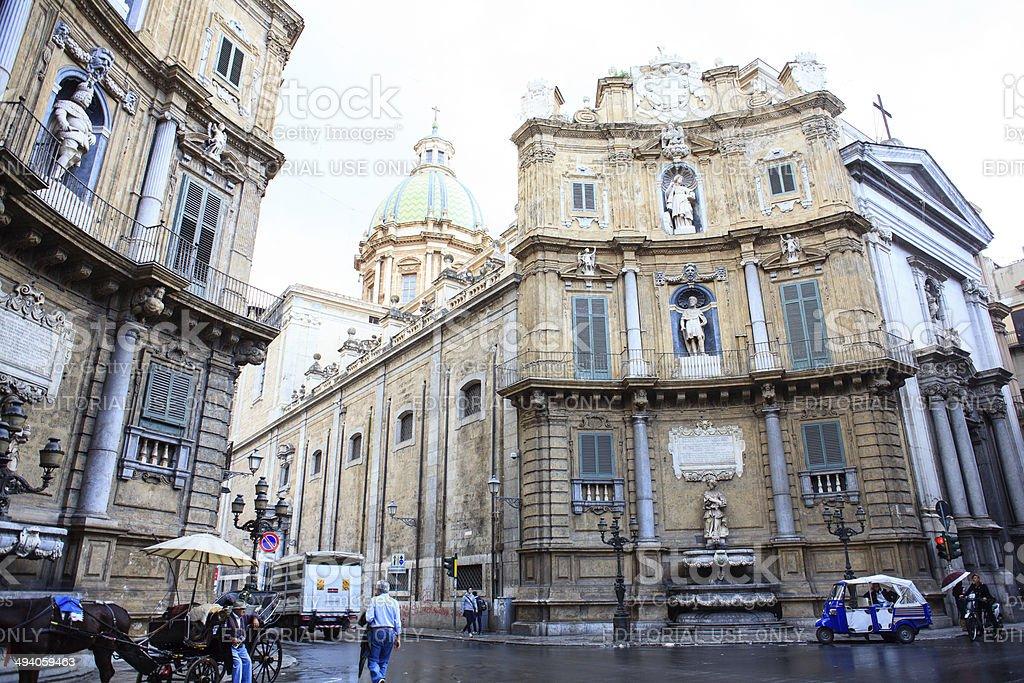 Quattro Canti, Palermo stock photo