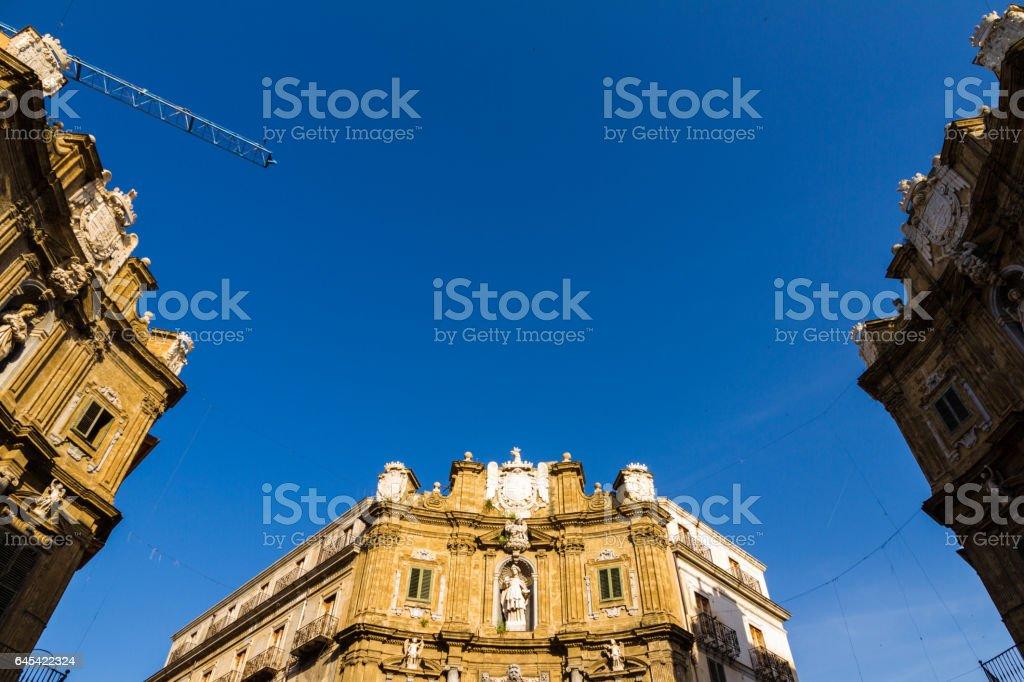 Quattro Canti square in Palermo, Italy stock photo