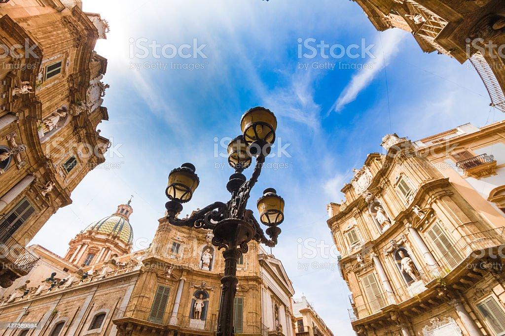 Quattro Canti Vigliena square in Palermo, Sicily stock photo
