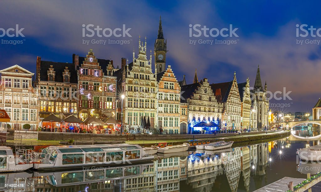 Quay Graslei in Ghent town at evening, Belgium stock photo
