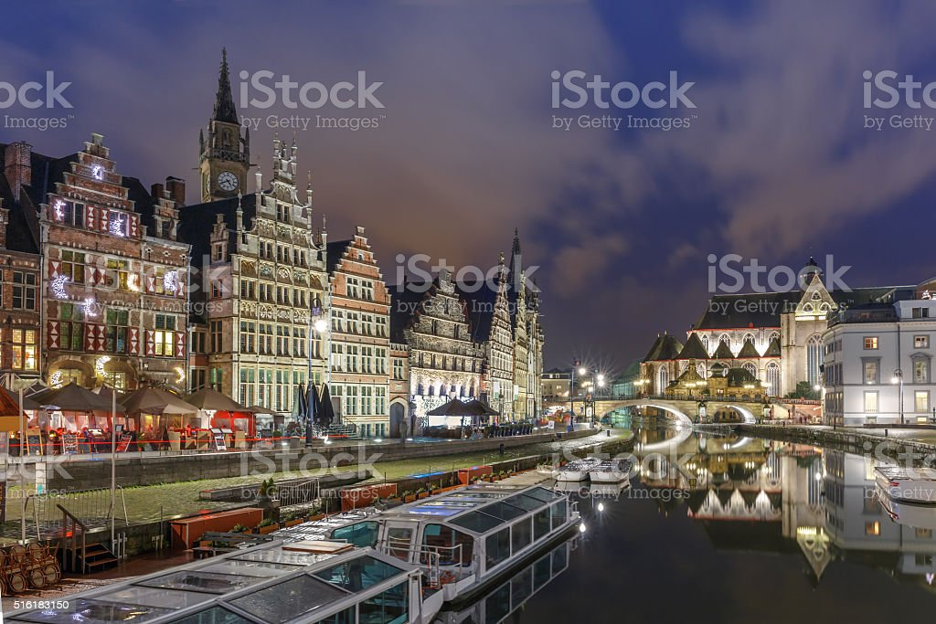 Quay Graslei in Ghent town at night, Belgium stock photo