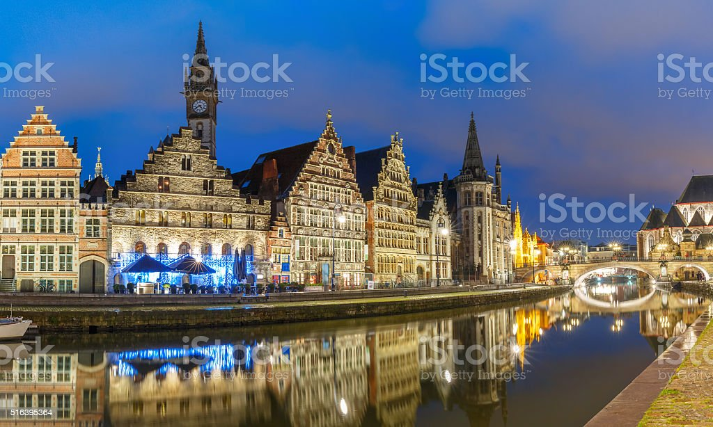 Quay Graslei in the evening, Ghent town, Belgium stock photo