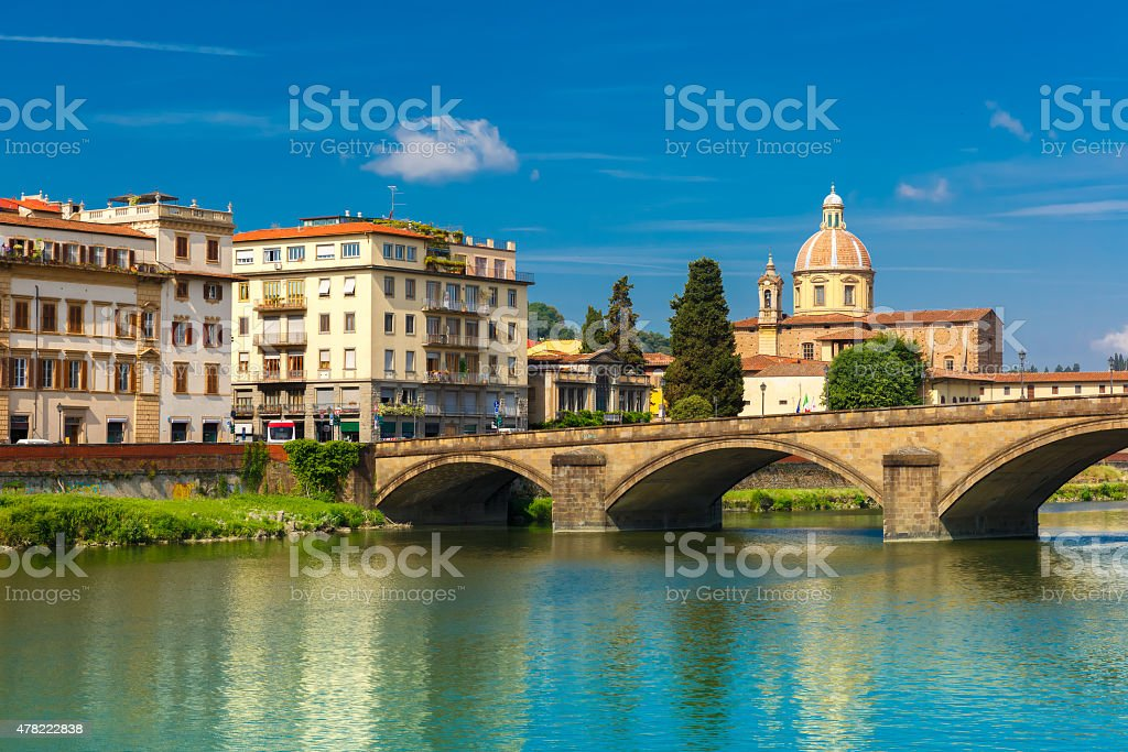 Quay of the river Arno in Florence, Italy stock photo