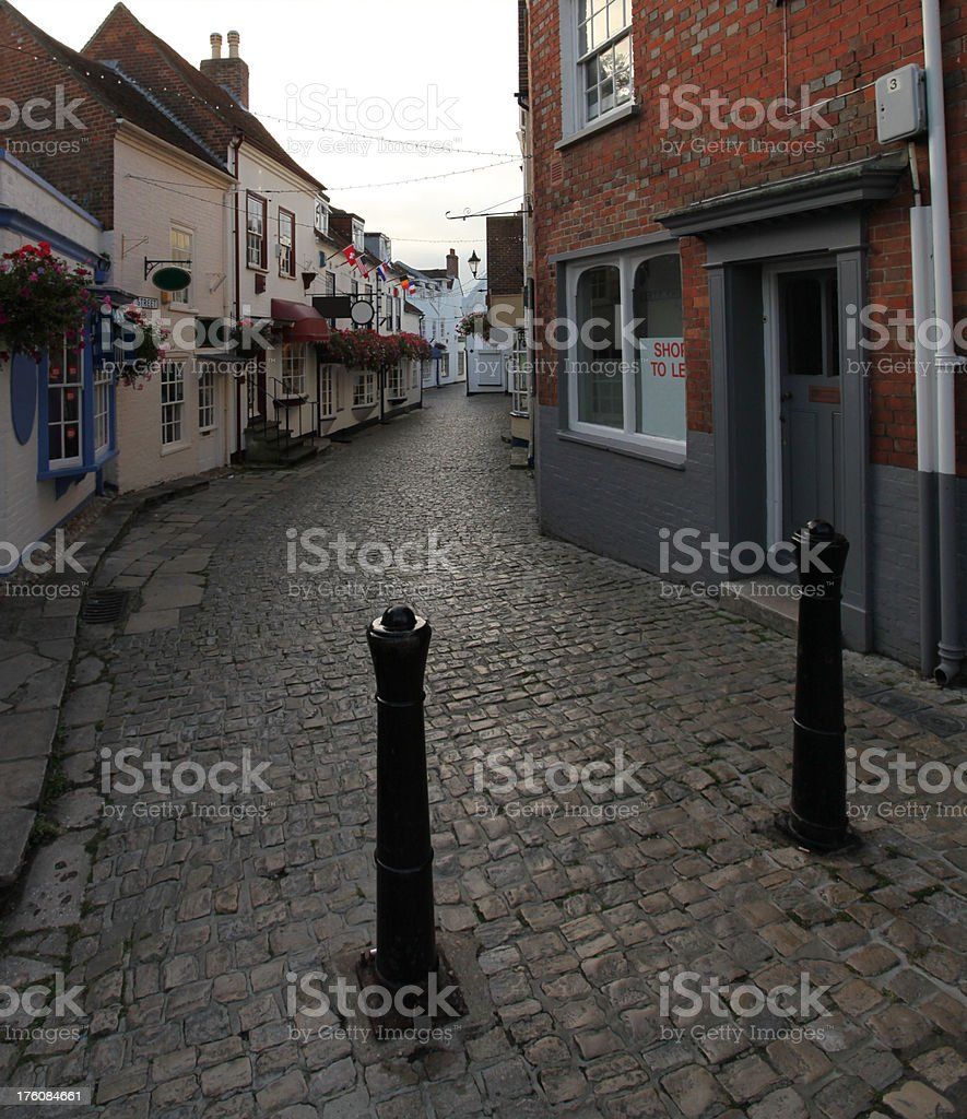 quay street with vacant shop stock photo