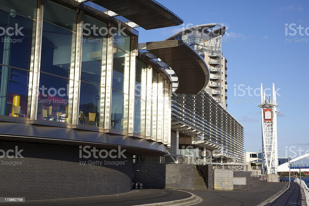 Quays Theatre Bar,Salford with blue sky stock photo