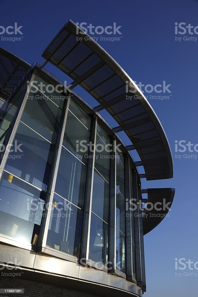 Quays Theatre, Lowry Centre, Salford ,Manchester with blue clear sky stock photo