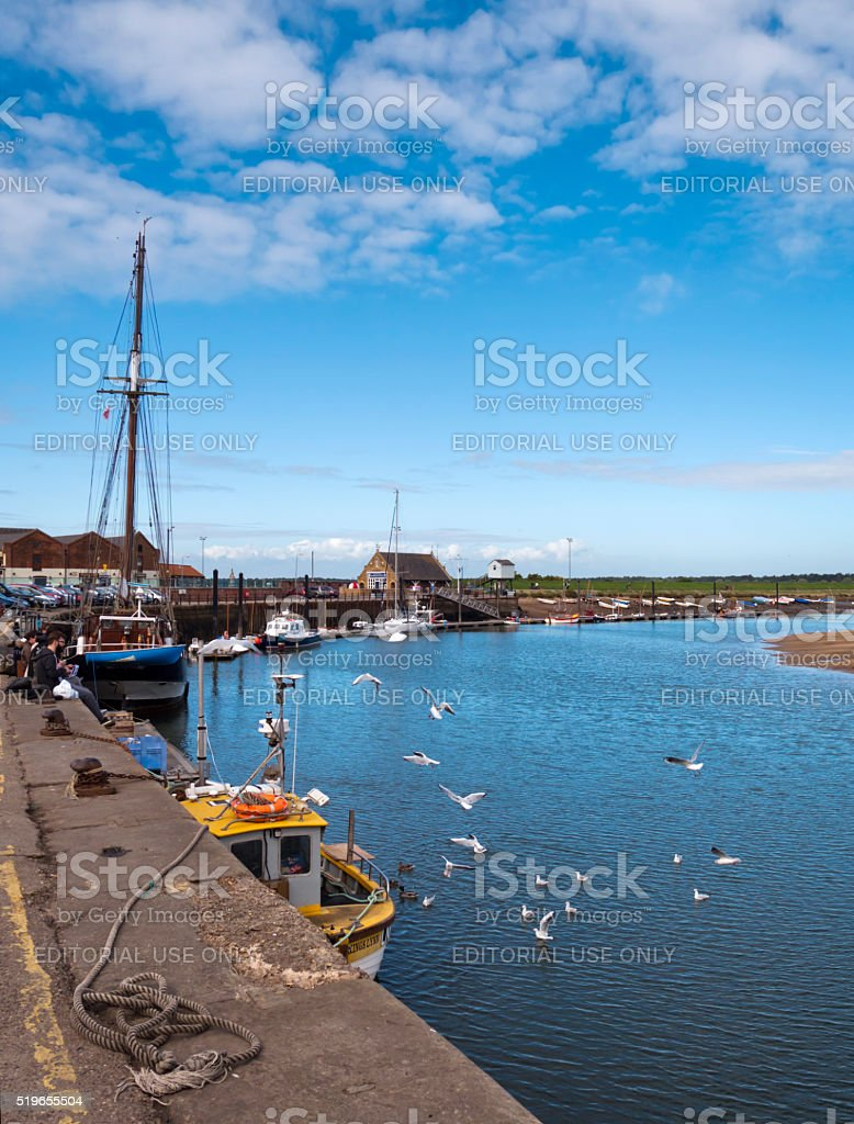Quayside and harbour at Wells-next-the-Sea stock photo