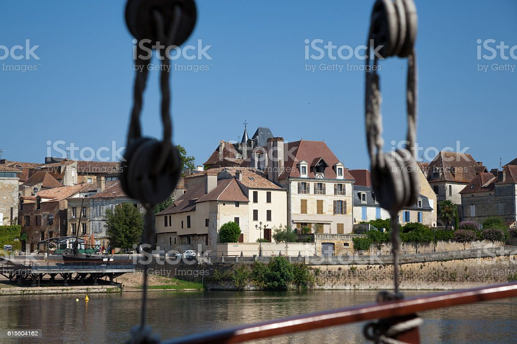quayside and medieval port Bergerac Dordogne France from sailing ship stock photo