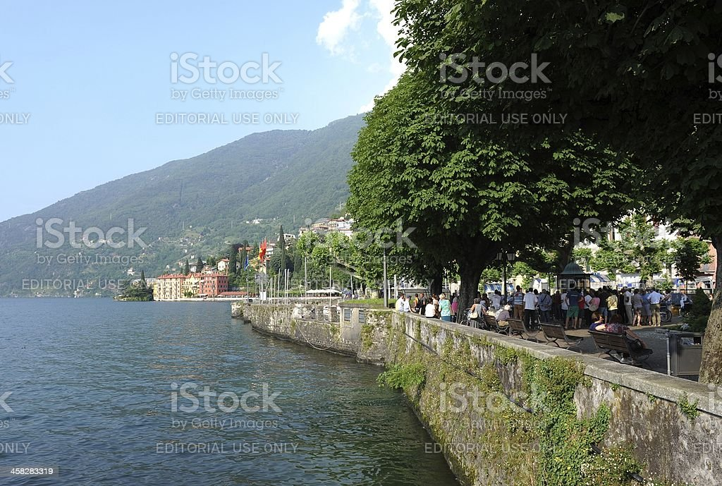 Quayside at the Italian town of Bellano royalty-free stock photo