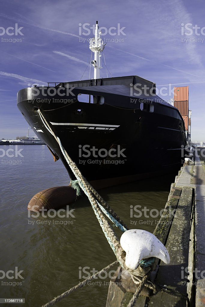 Quayside Container Ship royalty-free stock photo