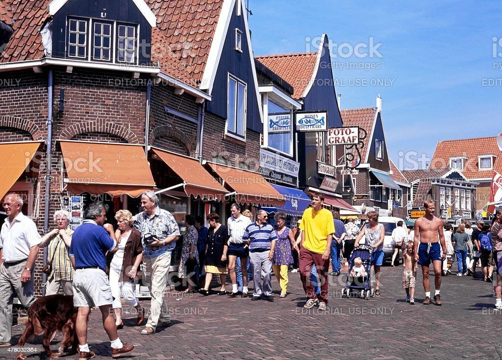 Quayside shopping street, Volendam. stock photo