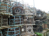 Quayside trawlermen's creels