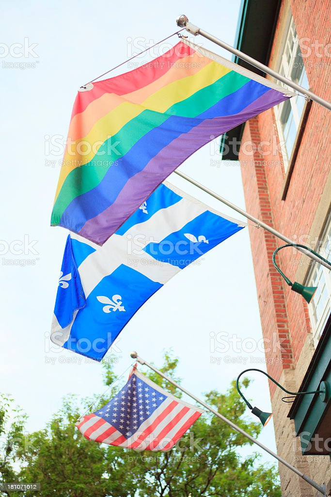 USA Quebec and Gay Flag royalty-free stock photo