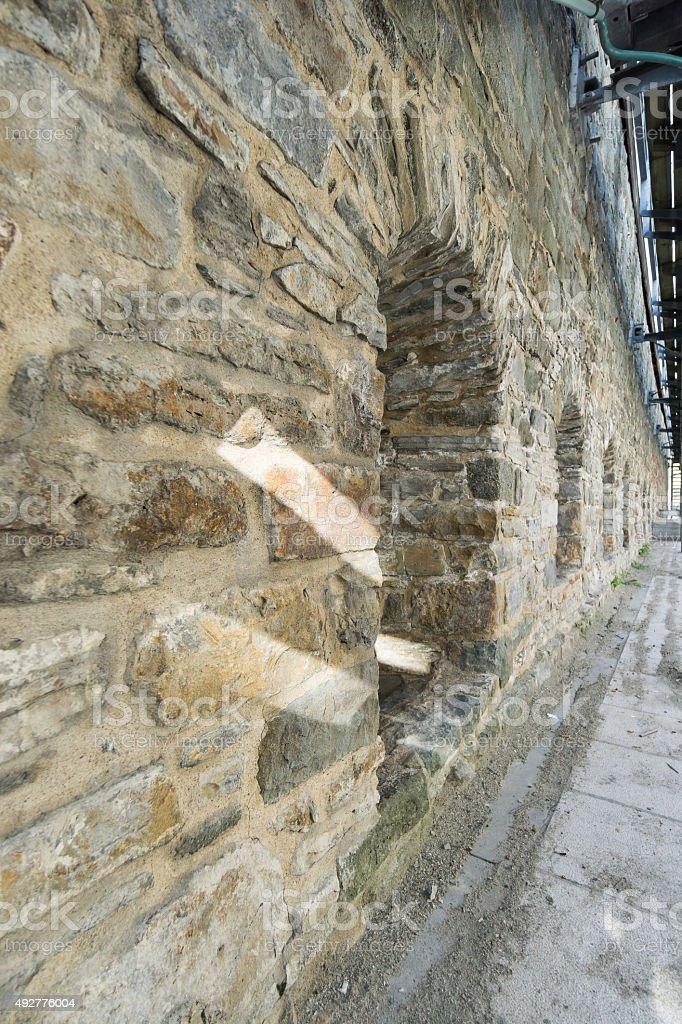 Quebec City, Ancient City Wall Up Close stock photo