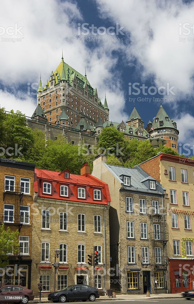 Quebec city and the Chateau Frontenac hotel royalty-free stock photo