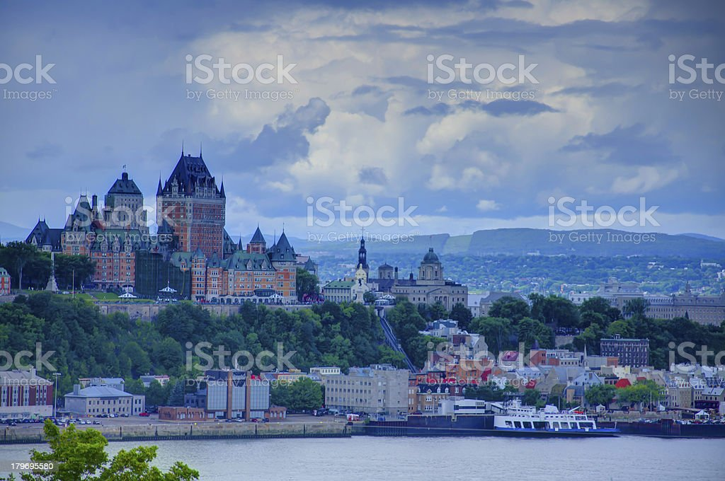 HDR, Quebec City Castle, Chateau Frontenac Hotel, Canada royalty-free stock photo