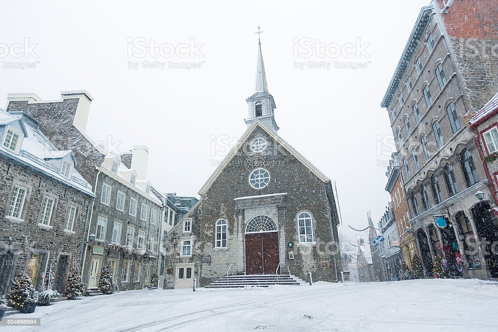 Quebec city famous landmark.Place Royale stock photo