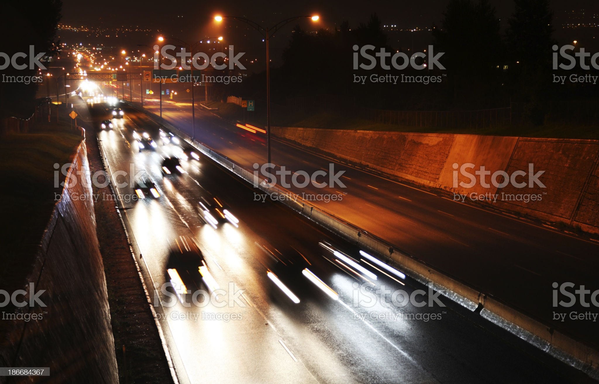 Quebec city highway traffic at night royalty-free stock photo