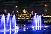 Quebec City illuminated at Night, Canada