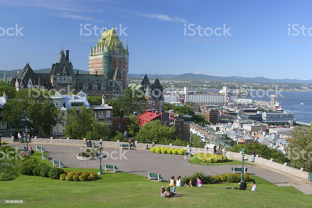Quebec City Park near the Frontenac Castle stock photo