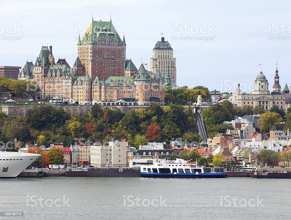 Quebec City skyline and Saint Lawrence River stock photo