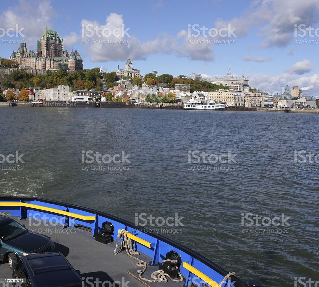 Quebec City skyline and Saint Lawrence River royalty-free stock photo
