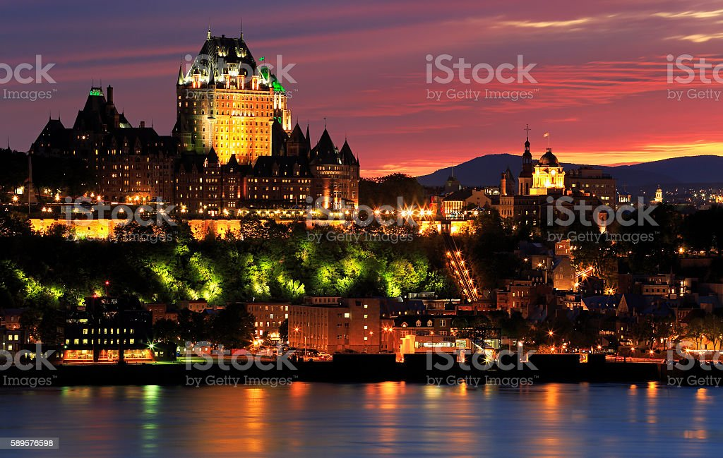 Quebec City skyline at dusk and Saint Lawrence River, Canada stock photo