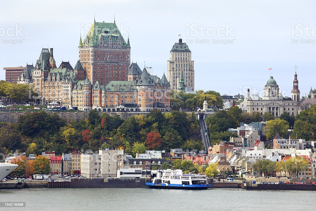Quebec City skyline behind Saint Lawrence River stock photo
