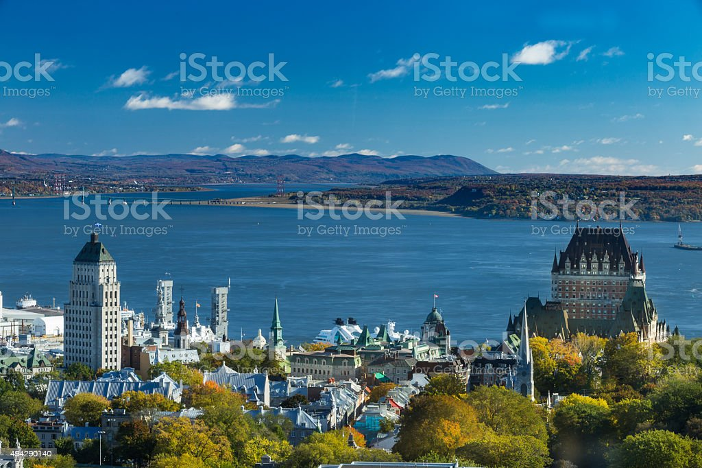 Quebec city view from above stock photo