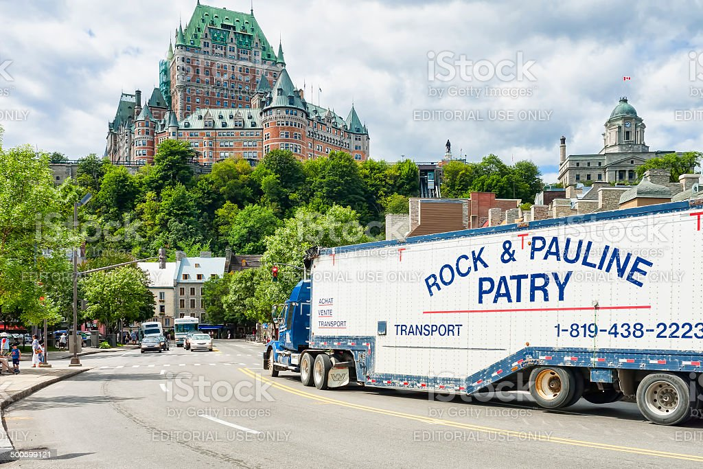 Quebec City View with Trailer Truck royalty-free stock photo