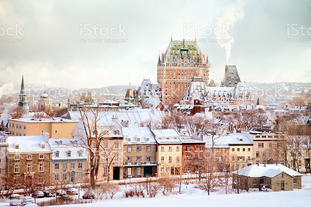 Quebec City Winter Skyline with Chateau Frontenac stock photo