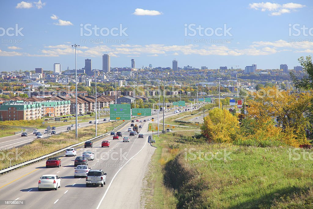 Quebec Cityscape and Main Highway royalty-free stock photo