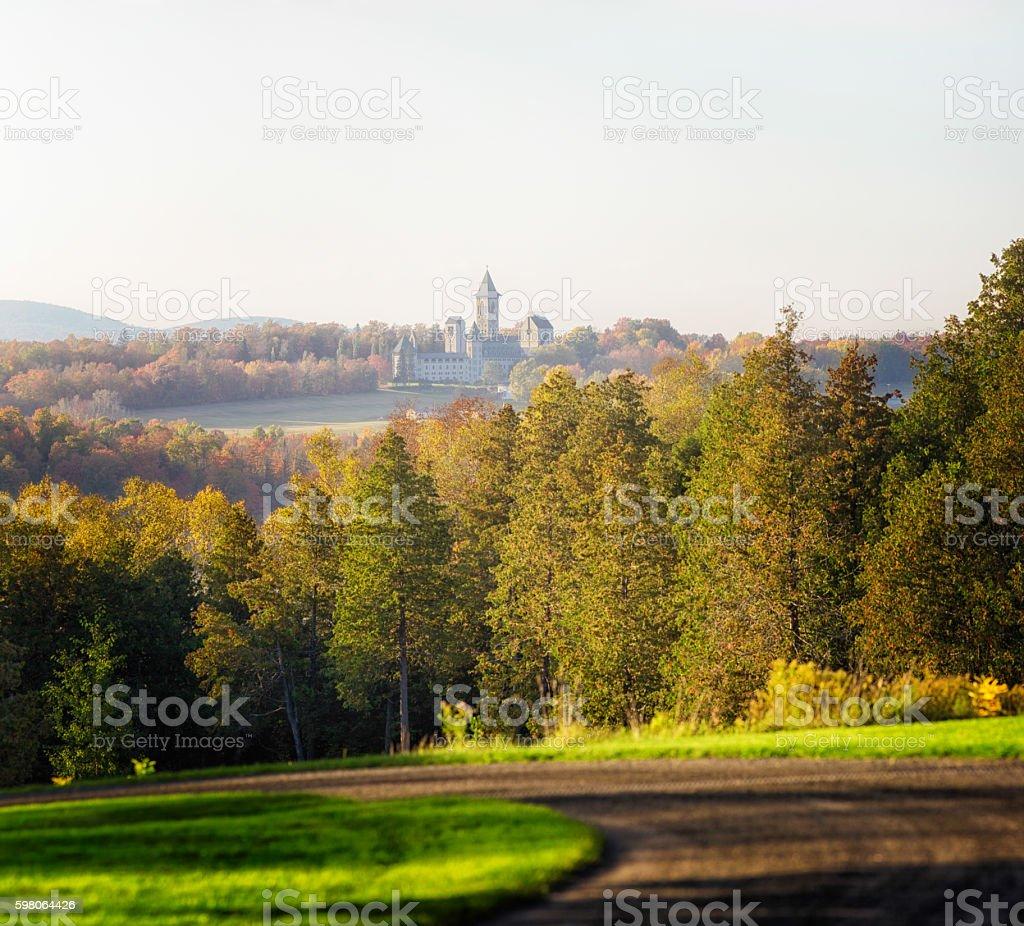 Quebec Estrie Autumn landscape with abbey stock photo