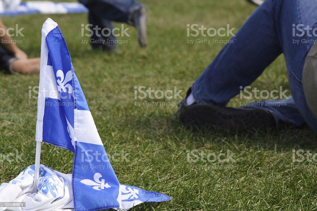 Quebec flag during la fete nationale stock photo