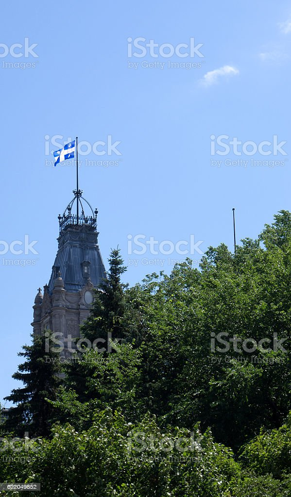 Quebec Flag Fleurdelisé stock photo