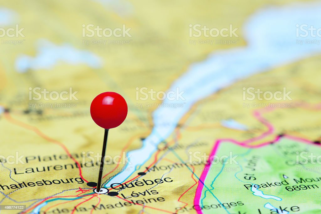 Quebec pinned on a map of Canada stock photo