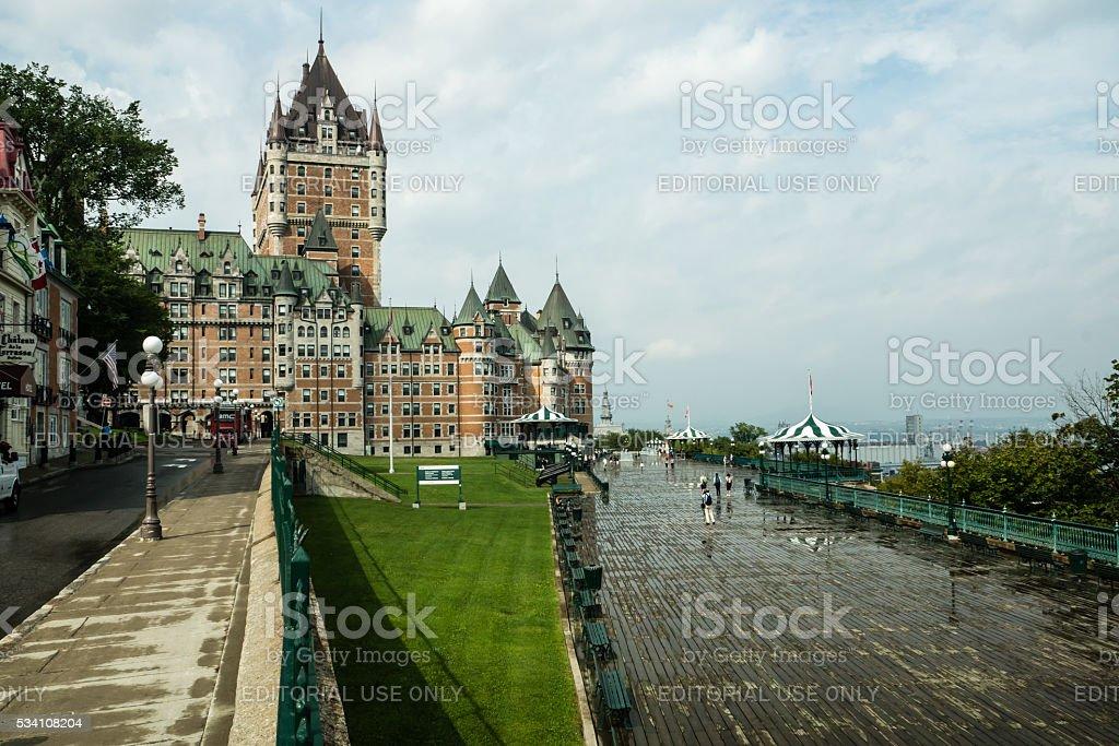 Quebec Riverside Boardwalk stock photo