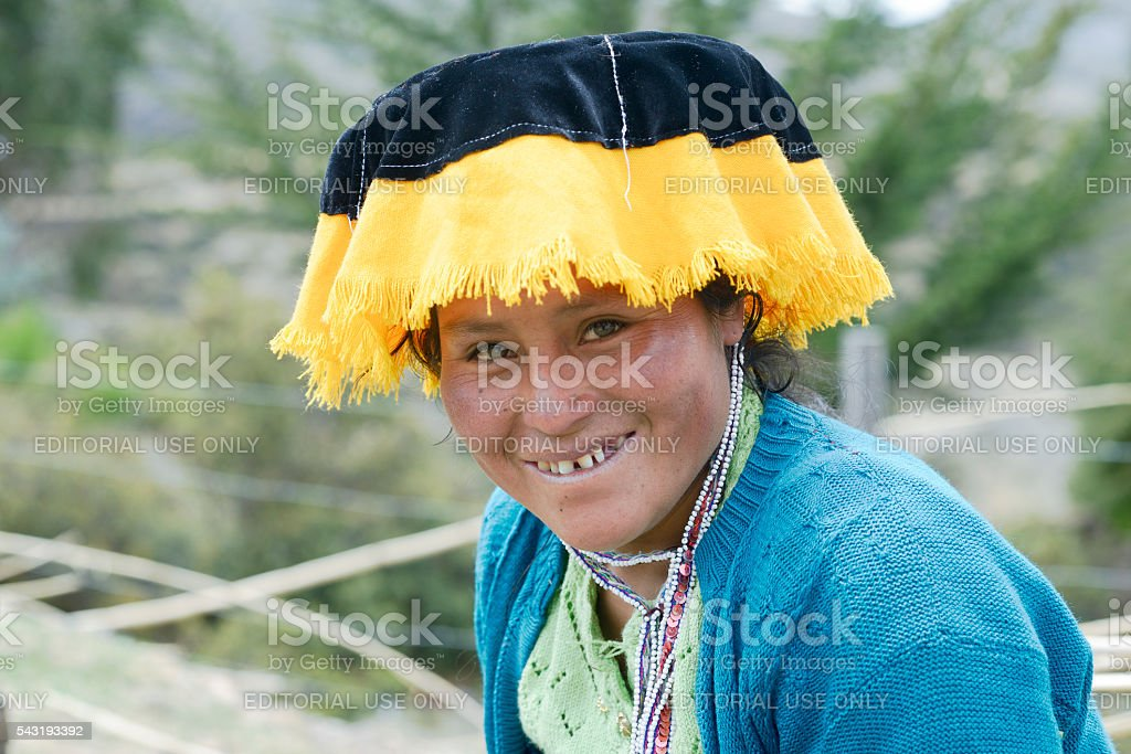 Quechua Indian woman from the Paru Paru Community stock photo