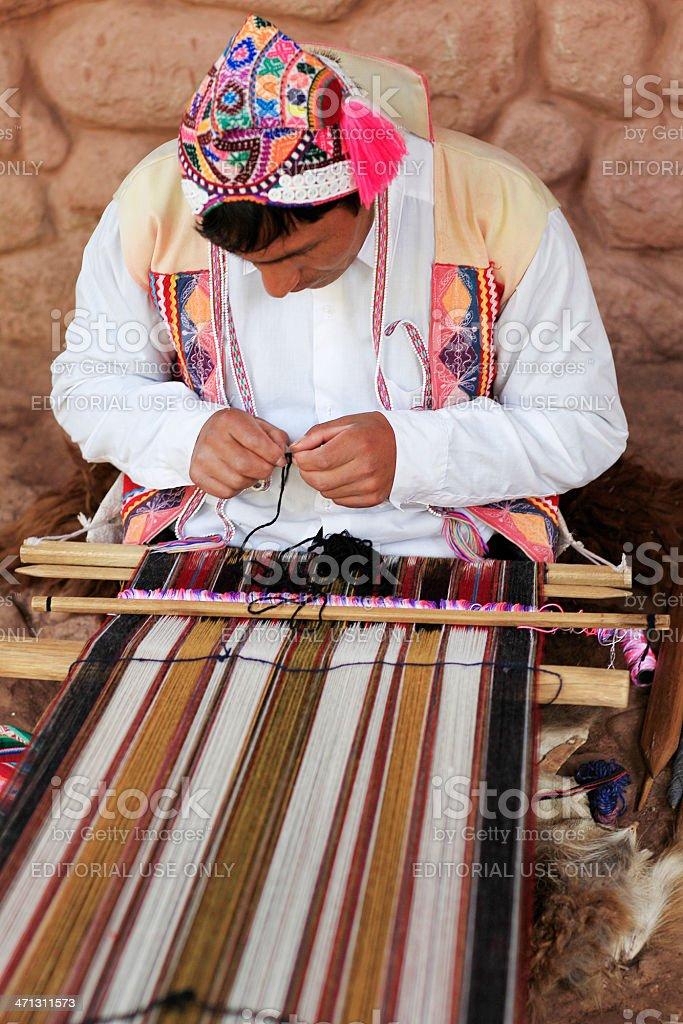 Quechua Man Weaving stock photo
