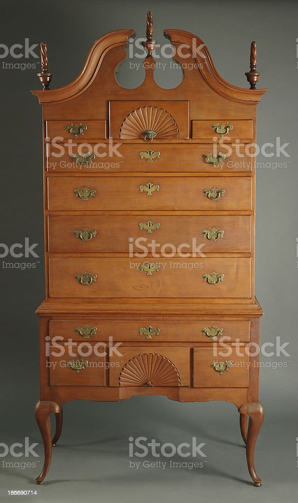Queen Anne High Chest of Drawers stock photo