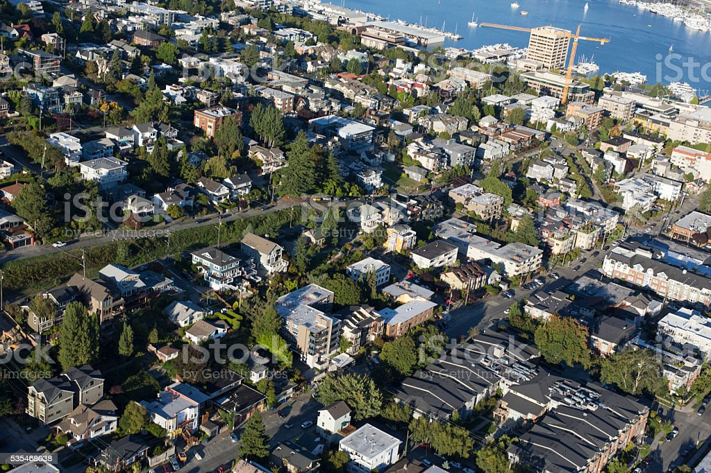 Queen Anne Hill Neighborhood Seattle, Washington Aerial Shot stock photo