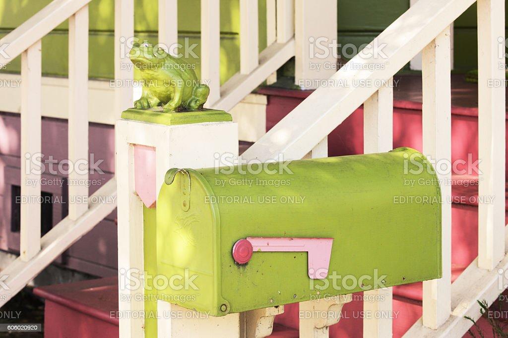 Queen Anne Victorian Architecture Mailbox Porch stock photo