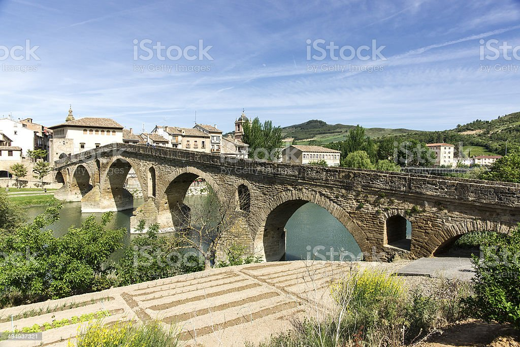 Puente la Reina Bridge. Puente la Reina, Navarra, Spain. stock photo