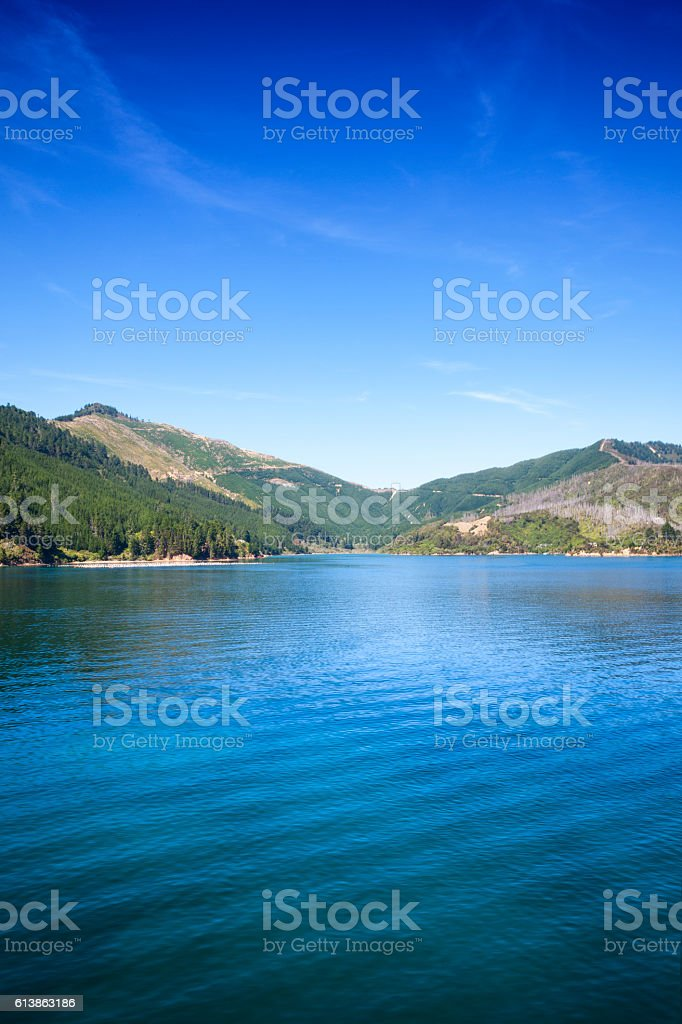 Queen Charlotte Sound of Cook Strait, New Zealand stock photo