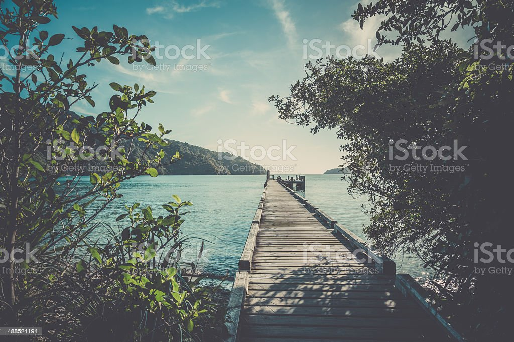 Queen Charlotte Track Landscape, Picton, New Zealand stock photo