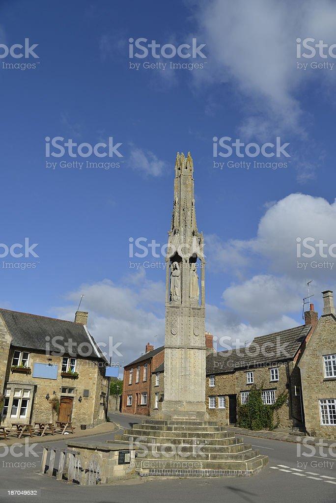 Queen Eleanor cross. Geddington. stock photo