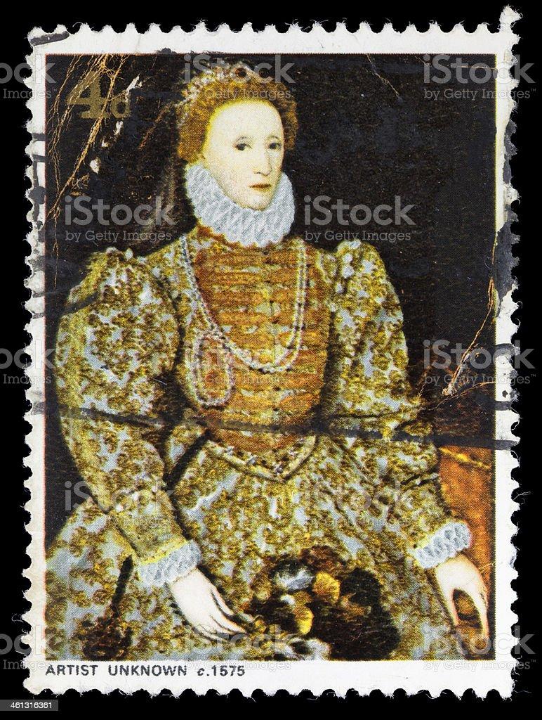 Queen Elizabeth I postage stamp stock photo
