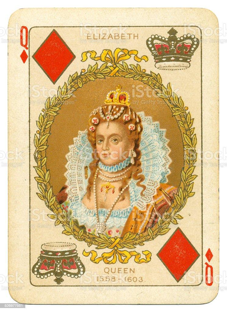 Queen Elizabeth I Queen of Diamonds stock photo